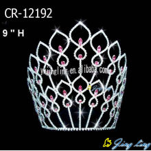 8 inch Pink Rhinestone Big Pageant Crowns