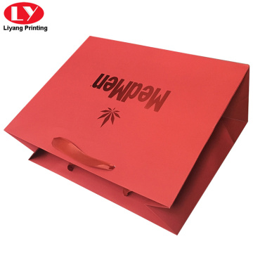Ang Luxury Red Foil Paper Bag nga may ribbon Handle