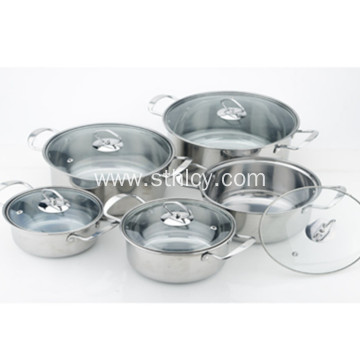 5-Piece Stainless Steel Cookware Set na may Glass Lids