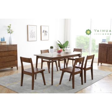 Madilim na Goma Solid Wood Rectangular Table para sa 6