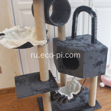 Pet Play House с царапающими постами окуни гамак