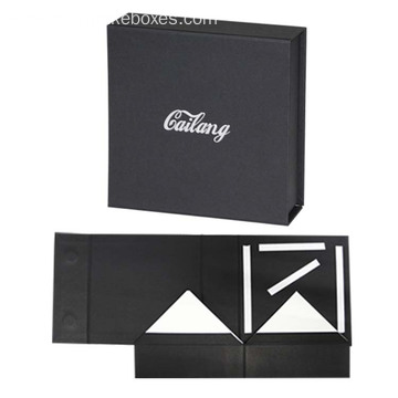Luxury Black Rigid Folding Box Packaging