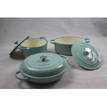 China Manufacturer for Enamel Cookware Sets, Camping Enamel Cookware Set from China Supplier Cream Blue Color Cookware Sets supply to United States Factories