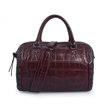 Daily Zip-Top Leather Tote Boston Bag Crocodile
