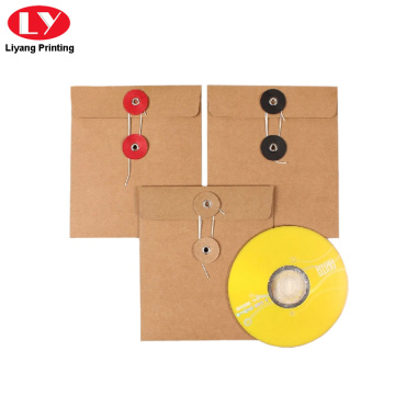 kraft paper envelope with button string for CD