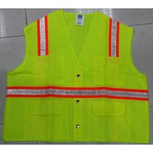 High Quality for Fluorescent Warning Vests High Visibility Roadway Safety Vest with Button supply to Liberia Importers