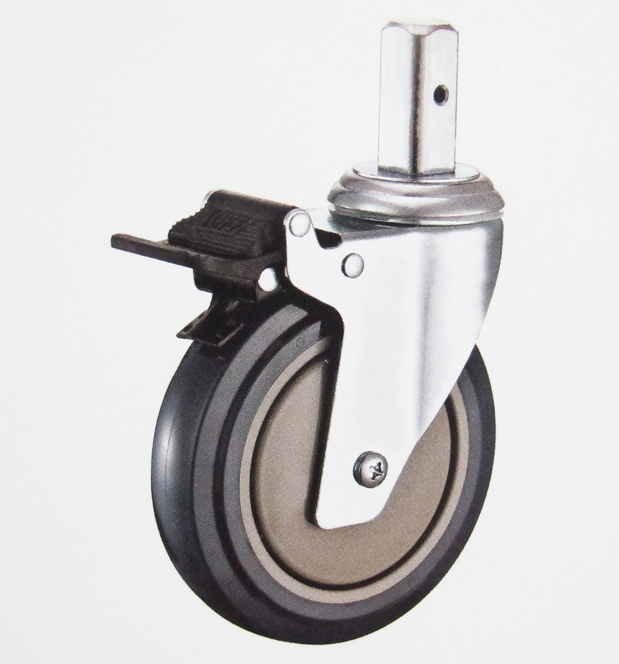 Medical Caster Wheel Swivel Brake Solid Stem