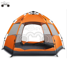 double door orange camping tent for 3-4 person
