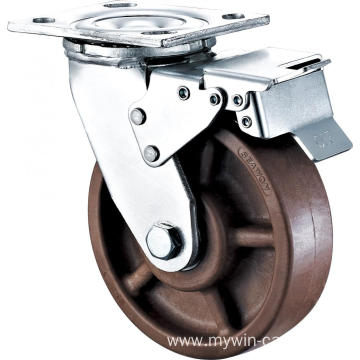 8'' Heavy Duty Plate Swivel High Temperature Caster With Brake