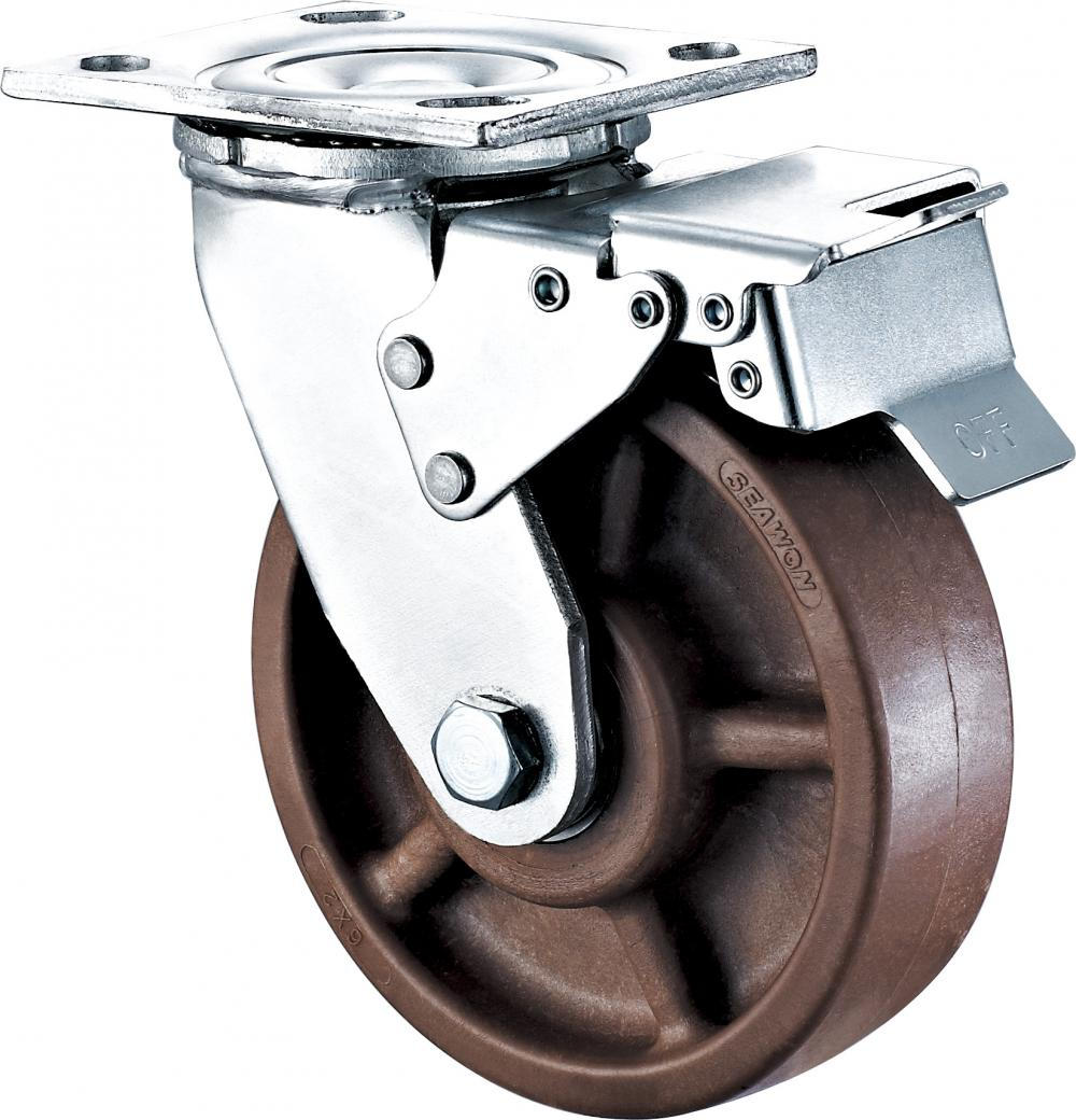 4'' Heavy Duty Plate Swivel High Temperature Caster With Brake