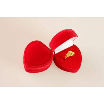 Red Heart-Shaped Velvet Exquisite Ring Box