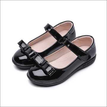 Girls Black Shoes with Bowknot