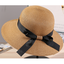 Customized for Disney Straw Hat Big Brim Satin Butterfly Women Paper Straw Hat export to Belgium Manufacturer