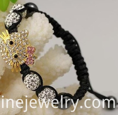 Hello Kitty Charm Shamballa Beads Bracelet For Children