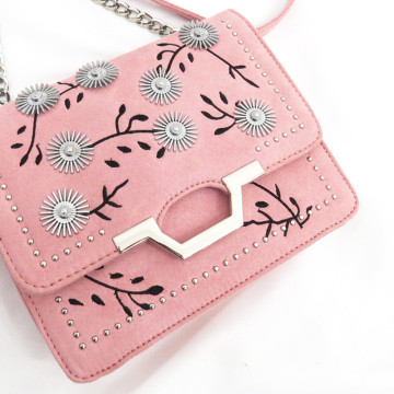 Velvet embroidery craft flower decoration shoulder bag