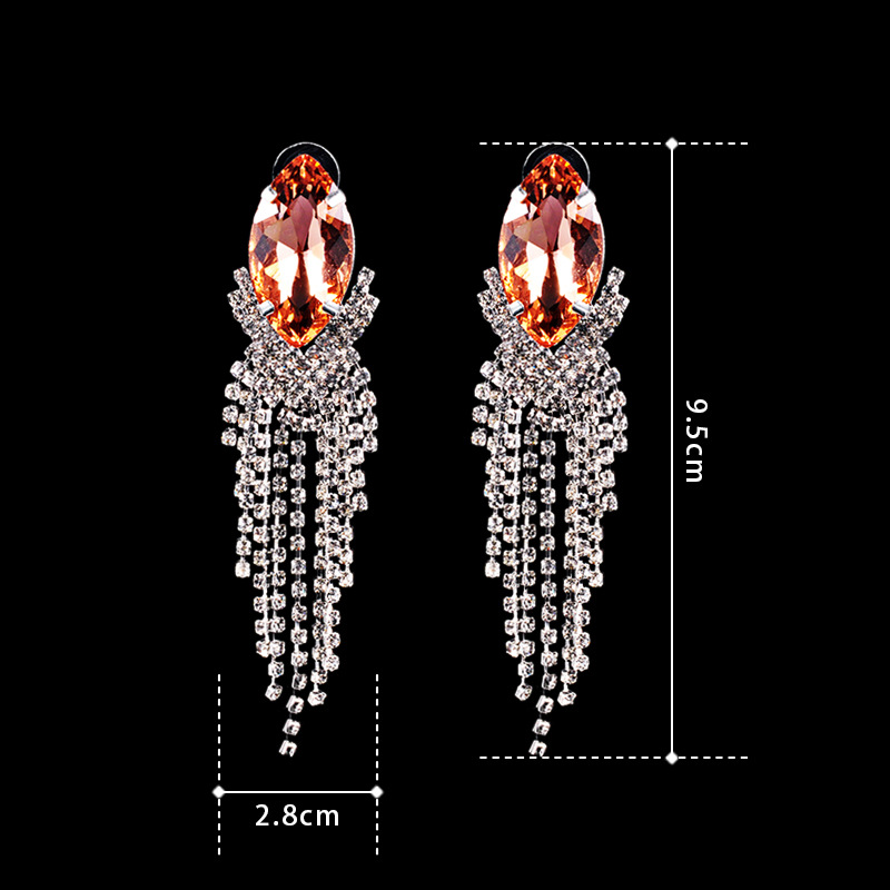 Gold Crystal Rhinestone Dangle Earring Tassel Jewelry