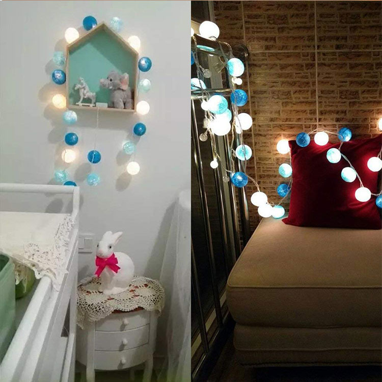 2 aa battery led cotton ball light string
