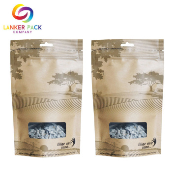 Waterproof Kraft Paper Stand Up Custom Ziplock Bag