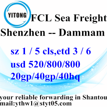Shenzhen sea freight Shipping Forwarder to Dammam