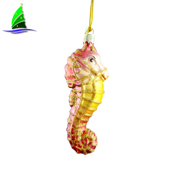 High Quality Glass Sea Horse Hanging Ornament