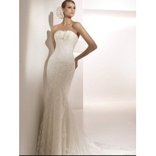 Elegant Trumpet Mermaid Strapless Cathedral Train Lace Taffeta Ruffled Wedding Dress