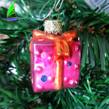 stock Christmas gift box glass Christmas tree ornaments