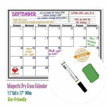 Custom magnetic white board calendar for Fridge