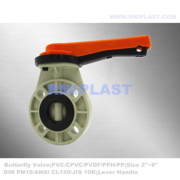 FRPP Butterfly Valve Lever Handle JIS 10K