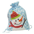 Christmas sack with christmas snowman pattern