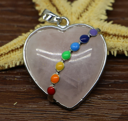 31x35mm Heart Agate Quartz Pendant