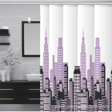 E by Design Waterproof Bathroom printed Shower Curtain