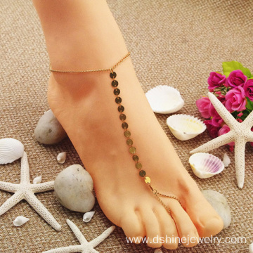 Hot Fashion Natural Simple Small Sequins Toe Chain Anklet