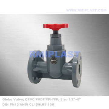 Wheel Manual Handle PVDF Globe Valve DIN PN10