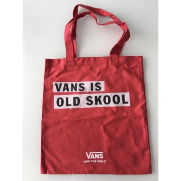 Printed Canvas Tote Bag in Red