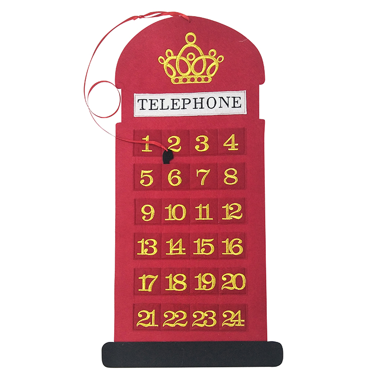 Christmas Advent Calendar With Telephone Shape