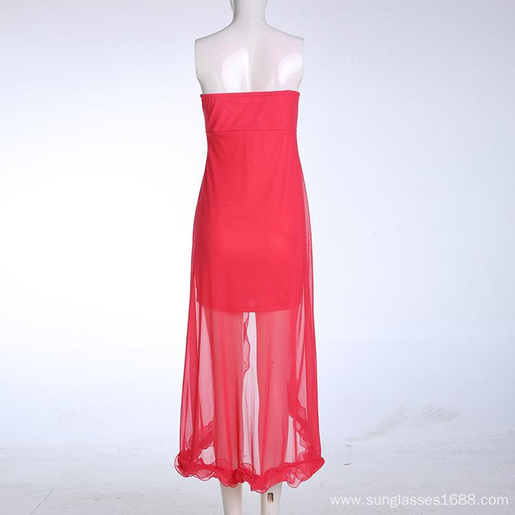 Net Yarn Wrapped Chest Long Paragraph Party Dress