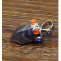 Short Design Natural Hexagonal Stone Pendant Multi Colors