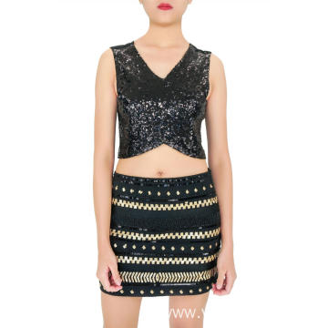 Black Gold Embroidered Sequin Skirts