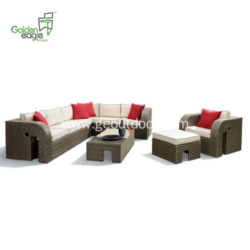 Aluminum outdoor modern bistro wicker set