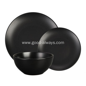 18 Pieces Stoneware Dinnerware Set,Matt Black