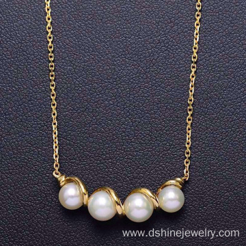 China for Gold Pearl Necklace 18k Gold Chain Natural Freshwater Real Pearl Necklace supply to Montserrat Factory