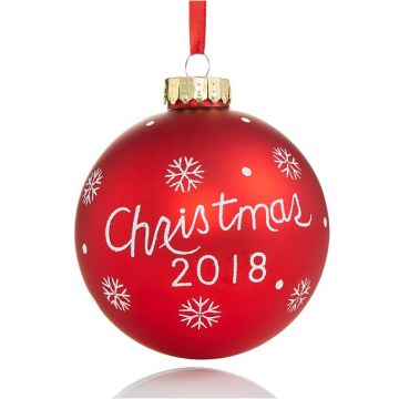 2018 Customized Logo Christmas Hanging Glass Ball Ornament
