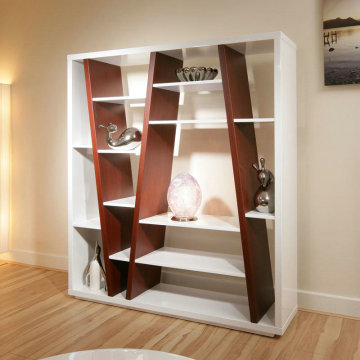 Ordinary Discount for Wooden Bookcase Modern white high gloss living room bookself export to Netherlands Supplier