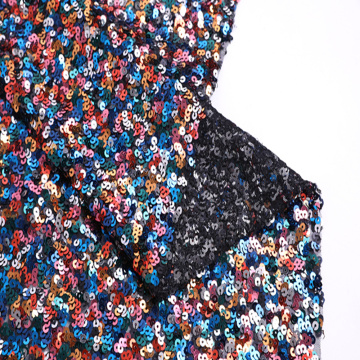 Polyester 5mm Multicolor Sequin Embroidery On Mono Mesh