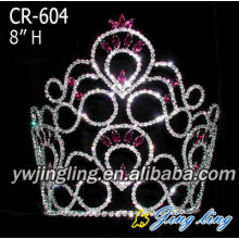 Custom big rhinestone pageant crowns for sale