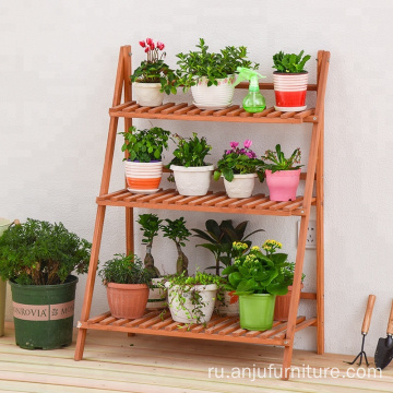3 Tier Neutral Wood Plant Flower Pot Holder Standing Shelves Garden Display Rack