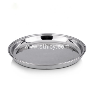 Large Size Dessert Fruit Stainless Steel Round Tray