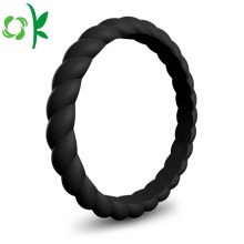 Custom Twist-shape Silicone Rubber Wedding Finger Ring