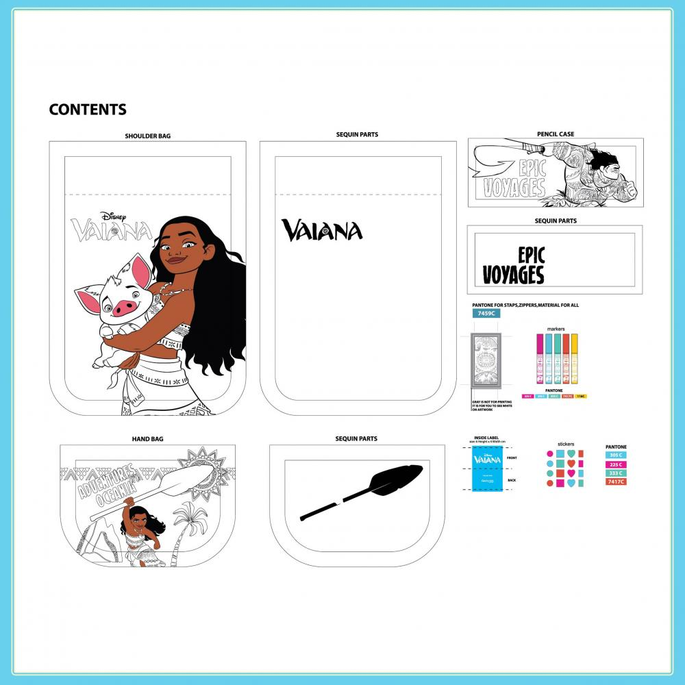 Disney Moana Vaiana Colouring Your Own Bags Set 2