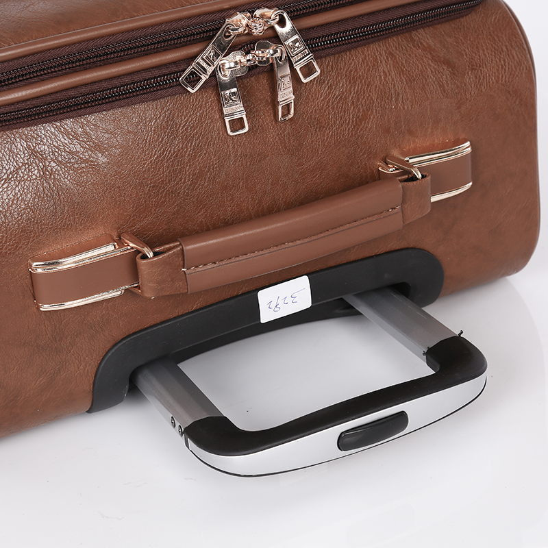 Pu Leather Brown Carry On Travel Luggage4
